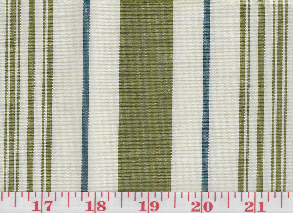 Annabel Stripe CL Fern - Indigo Upholstery Fabric by Hill Brown