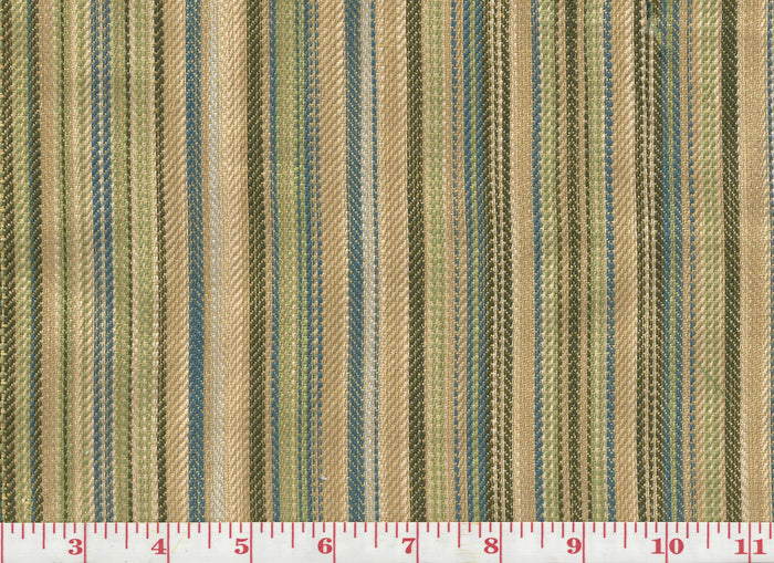 Mulligatawny Stripe CL Indigo - Fern Upholstery Fabric by Hill Brown