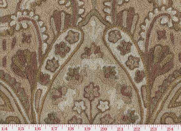 Paisley Crewel CL Tea Upholstery Fabric by Roth & Tompkins