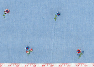 Lone Carnations CL Blue Embroidered Drapery Fabric by Roth Fabric