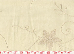 Crewel Embroidery Floral on Broadcloth CL Beige Drapery Table Top Apparel Fabric by Roth Fabrics