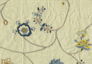 Williamsburg Floral CL Multi Embroidered Drapery Fabric by Roth Fabric