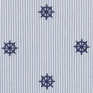 Captain's Wheel Ticking CL Deck Blue Drapery Upholstery Fabric by Ralph Lauren