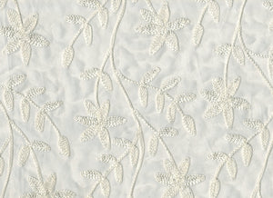 Embroidered Organdy Floral CL Champagne Sheer Drapery Fabric by Roth Fabric