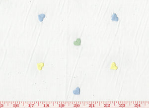 Scattered Embroidered Hearts CL Pastels Organdy Drapery Fabric by Roth Fabric