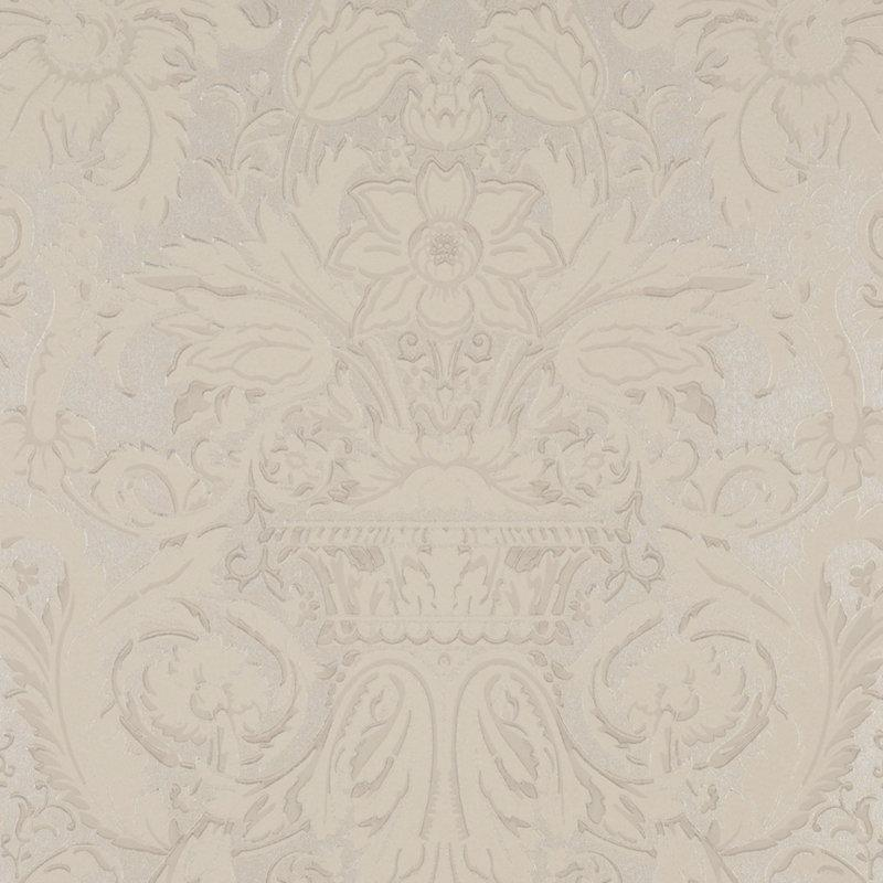 Chelsea Damask CL Platinum Single Roll of Wallpaper by Ralph Lauren