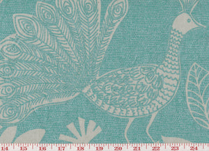 Iridescent Peacock CL Teal Drapery Upholstery Fabric by P Kaufmann