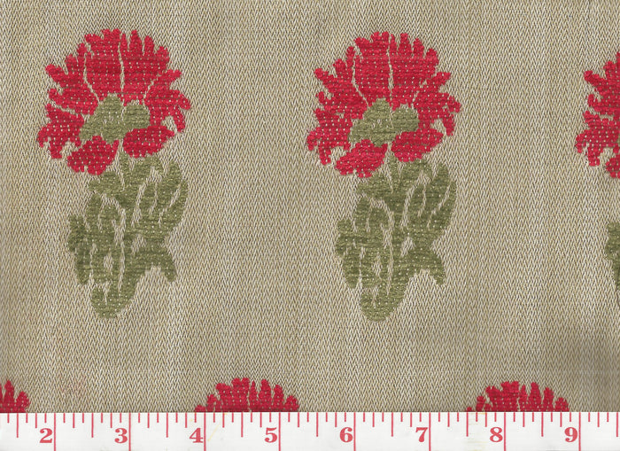 Lucknow CL Red - Green Upholstery Fabric by Hill Brown