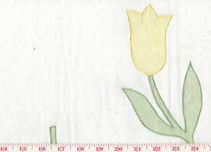 Applique Tulips CL Pastels Organdy Sheer Drapery Fabric by Roth Fabric