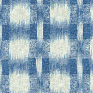Raleigh Ikat Plaid CL Porcelain Drapery Fabric by PK Lifestyles