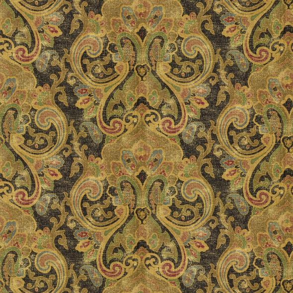 Dovima Linen Paisley CL Onyx Drapery Upholstery Fabric by Ralph Lauren