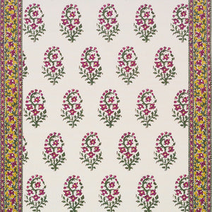 Fleur de Kashmir CL Pink Green Drapery Fabric by Hill Brown