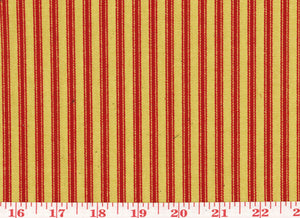 Timeless Ticking CL Red - Tan Upholstery Fabric by Waverly