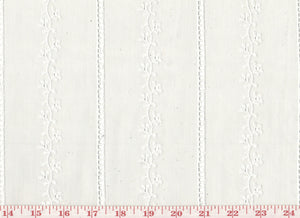 Scallop Edged Embroidered Eyelet Striped Sheer CL Off White Drapery Fabric by Roth Fabric