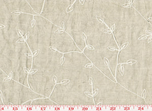 Botanical Leaf Embroidery CL Light Khaki Drapery Fabric by Roth Fabric