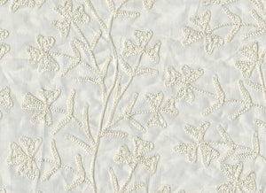 Embroidered Organdy Floral Stems CL Champagne Sheer Drapery Fabric by Roth Fabric
