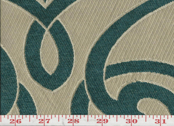 Charlotte CL Teal Upholstery Fabric by KasLen Textiles