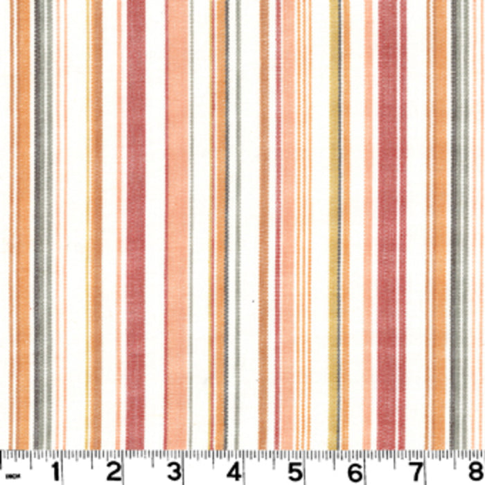 Hilary Stripe CL Persimmon Drapery Upholstery Fabric by Roth & Tompkins