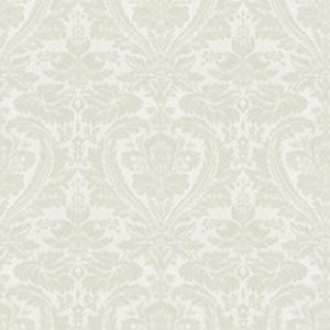 Lansing Damask CL White Drapery Upholstery Fabric by Ralph Lauren