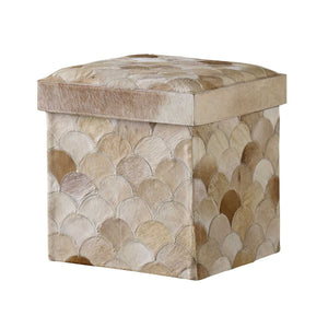 Recherche Storage Stool, Scalloped CL Multi - Beige