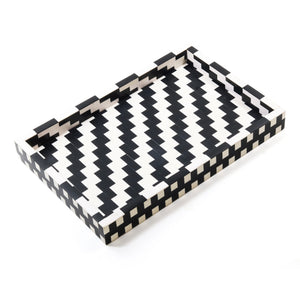 Nannie Tray CL White - Black by Curated Kravet