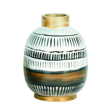 Thelma Vase CL White - Black - Brown by Curated Kravet