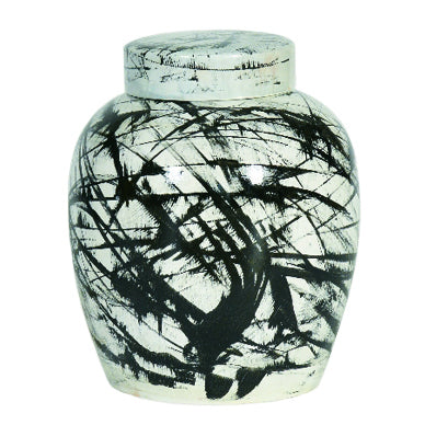 Spencer Vase CL White - Black by Curated Kravet