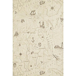 Searsport Map CL Bone Single Roll of Wallpaper by Ralph Lauren