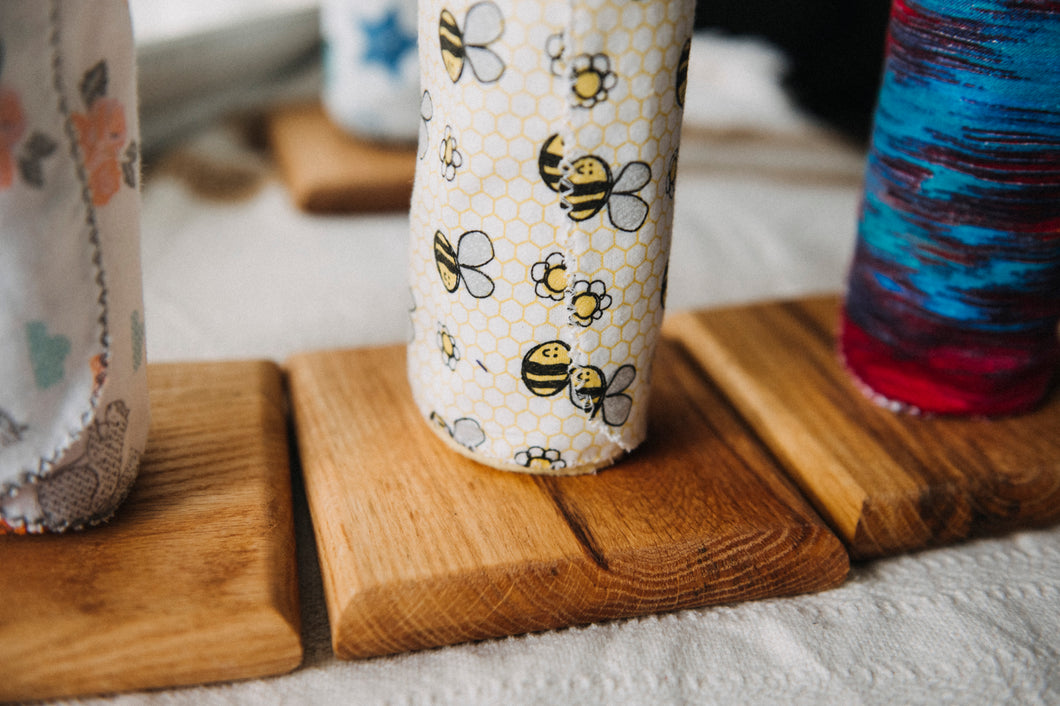 Handcrafted UnPaper Towel Holder with 12 Unpaper Towels