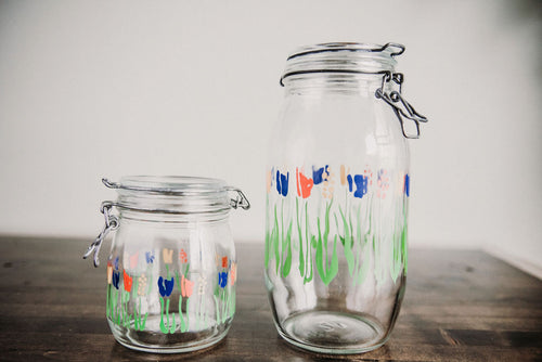 Abstract Floral Jar Set