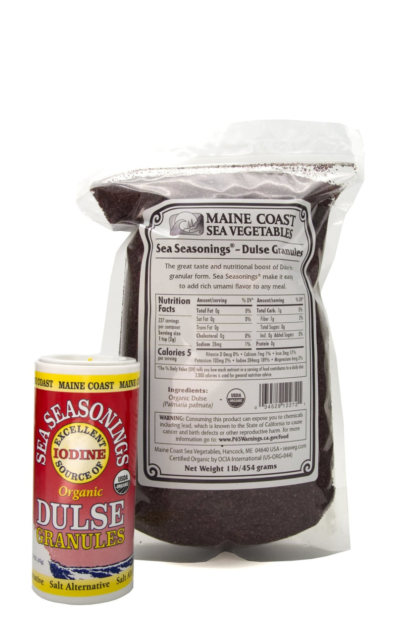 Dulse Granules - Wild Atlantic - Sea Seasonings Bulk - Organic 1 LB - Maine Coast Sea Vegetables