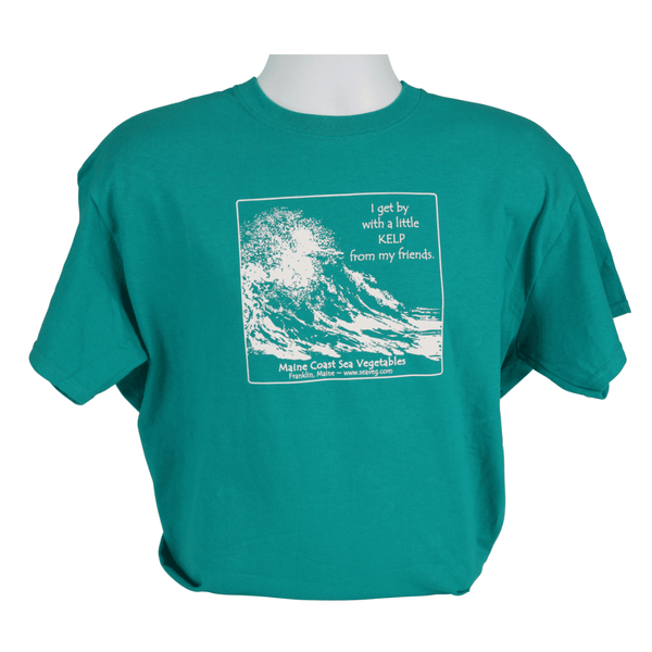 """I Get by with a Little Kelp From My Friends"" Retro Galapagos Blue T-Shirt S - Maine Coast Sea Vegetables"