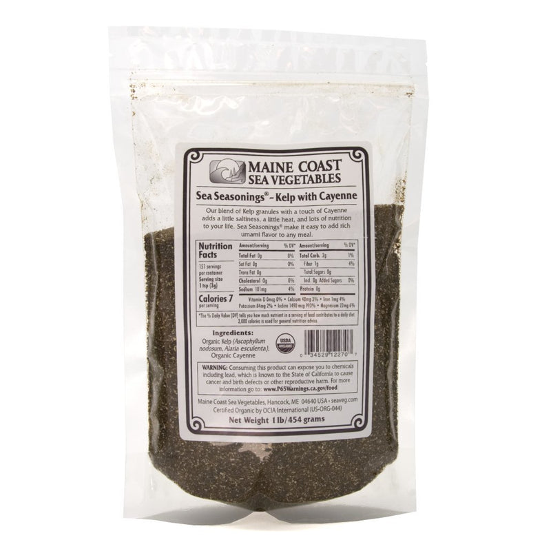 Kelp Granules Blend with Cayenne - Sea Seasonings Bulk - Organic 1 LB - Maine Coast Sea Vegetables