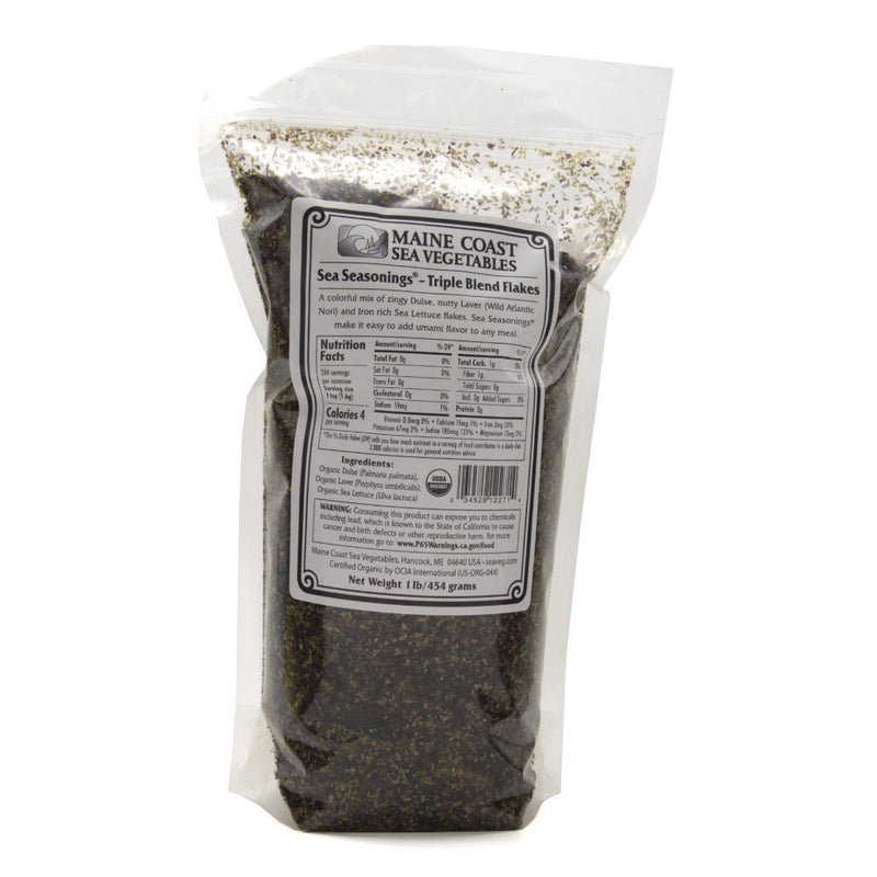 Triple Blend Flakes - Sea Seasonings Bulk- Organic 1 LB - Maine Coast Sea Vegetables