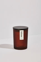 Load image into Gallery viewer, Large Selene candle in amber frosted jar with black wooden lid