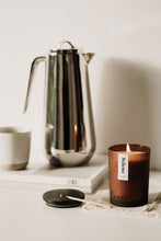 Load image into Gallery viewer, Large Selene Candle lit. Black wooden lid included.
