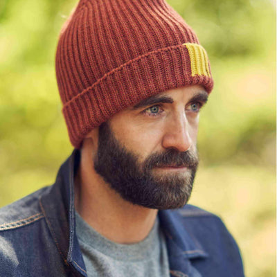 The George 8 Ply Cashmere Beanie #color_red-burns