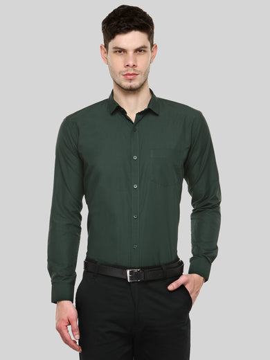 2b940bc9aacc Green Slim Fit Solid Casual Shirt ...