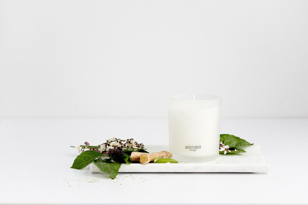 Purple Basil Candle + Tea Towel Bundle
