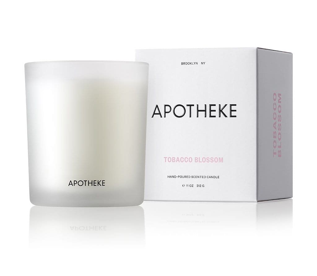 apotheke candle luxury home fragrance soy blend wax perfume tobacco blossom scent warm flower vanilla soft spice cognac anise chestnut embers rich