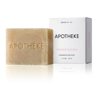 apotheke natural handmade handcrafted bar soap sustainable oils luxury home fragrance hand body tobacco blossom scent warm flower vanilla soft spice cognac anise chestnut embers rich