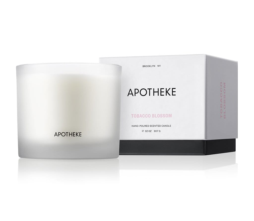 apotheke three wick candle luxury home fragrance soy blend wax perfume tobacco blossom scent warm flower vanilla soft spice cognac anise chestnut embers rich