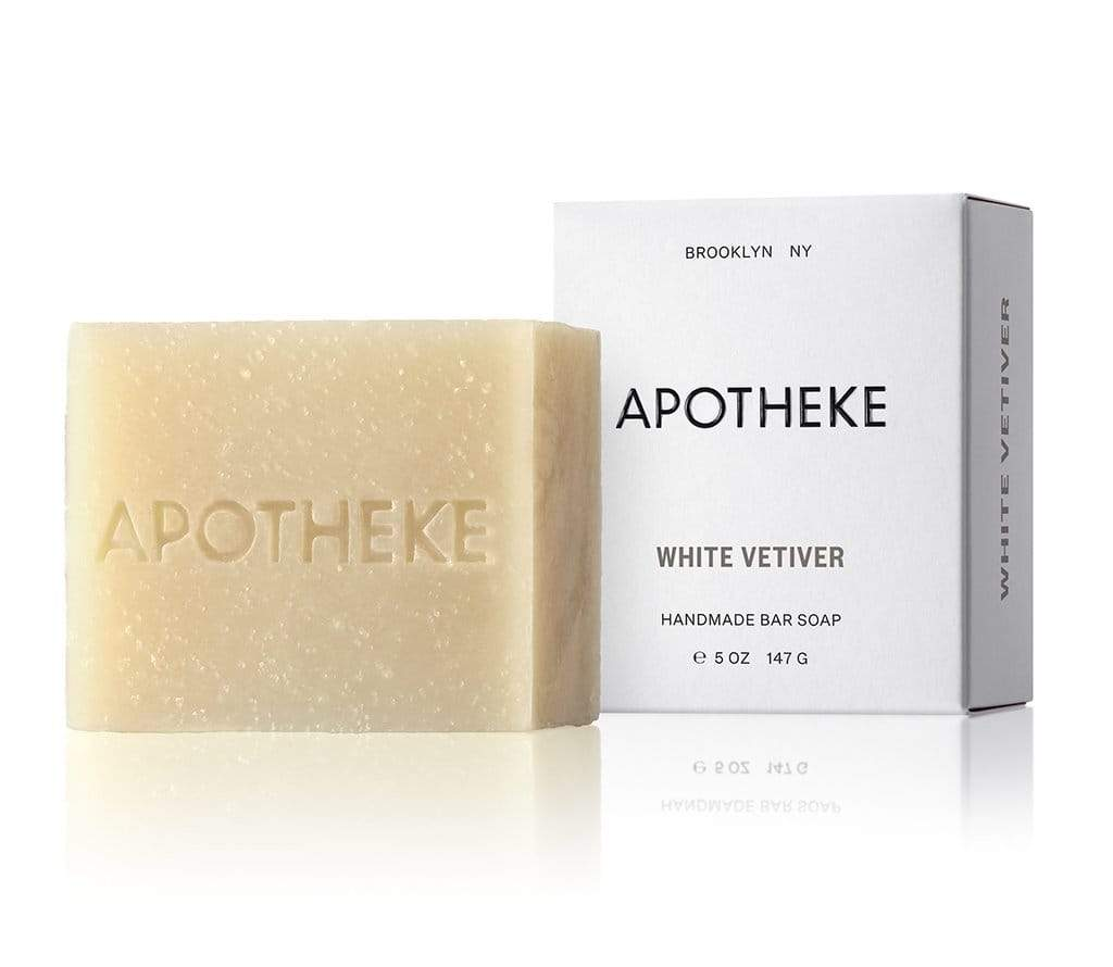 apotheke natural handmade handcrafted bar soap sustainable oils luxury home fragrance hand body white vetiver scent 1 hotel clean woodsy fresh kindling wood cashmere eucalyptus lilac earthy sandalwood amber cedarwood