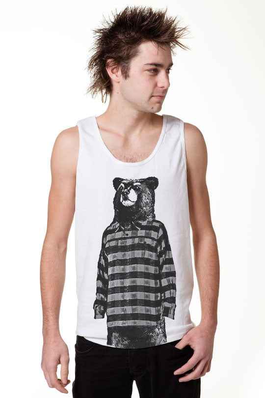 Cool bear tank top graphic shirt men