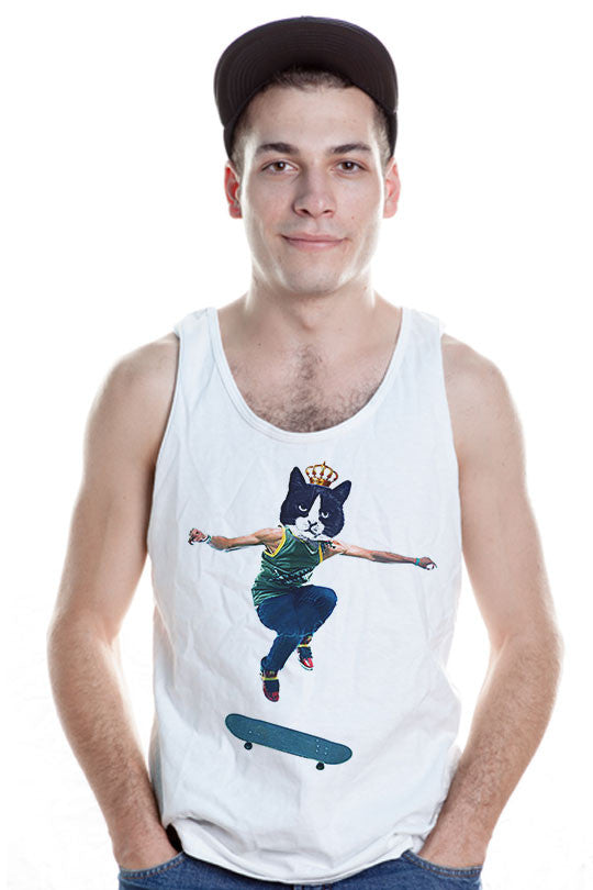 Skip-The-Skater-Cat-Tank-T-Shirt men white