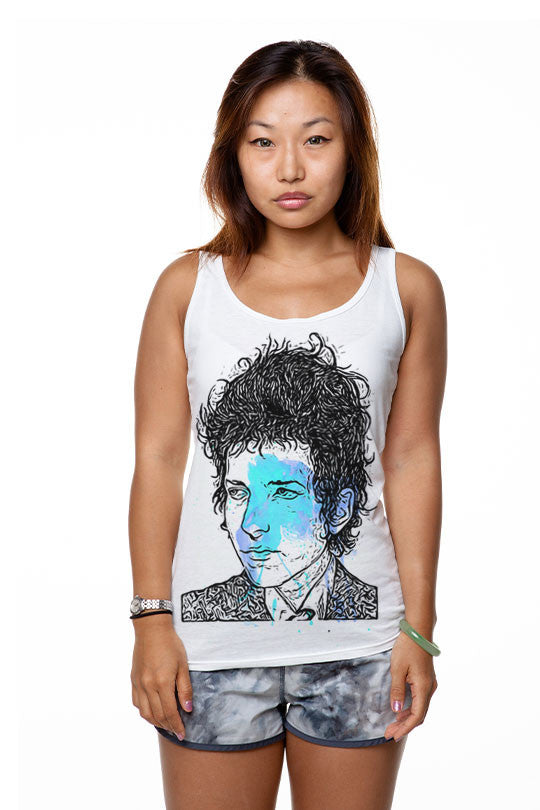 bob-dylan-hand drawn tank-top women