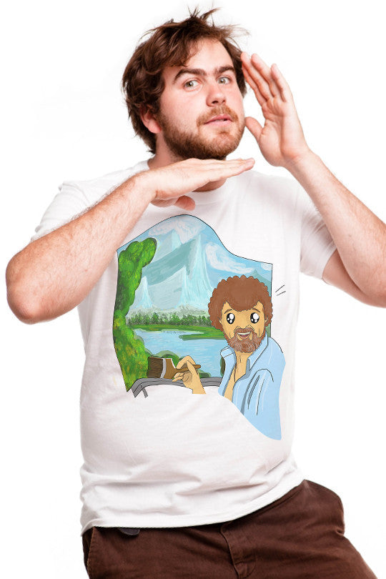 happy-little-trees-funny graphic tee men