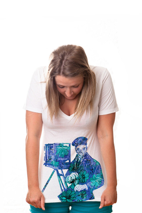 dead-camera-skull graphic tee women