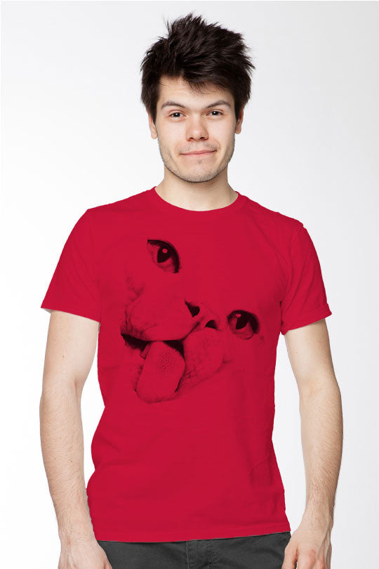 ugly-cat-face-tee men red