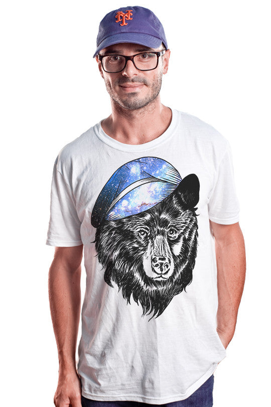 cosmic-hat bear graphic tee men